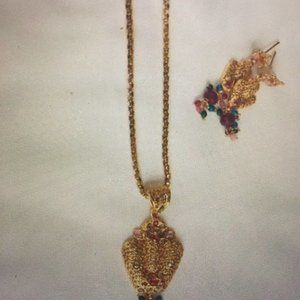 Indian Necklace and Earrings Set - Gold plated